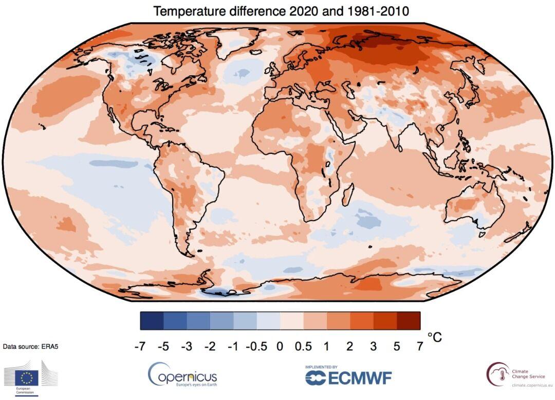 ۲۰۲۰ رکورد گرمترین سال جهان را شکست