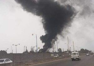 آتش سوزی گسترده در پالایشگاه حمص سوریه